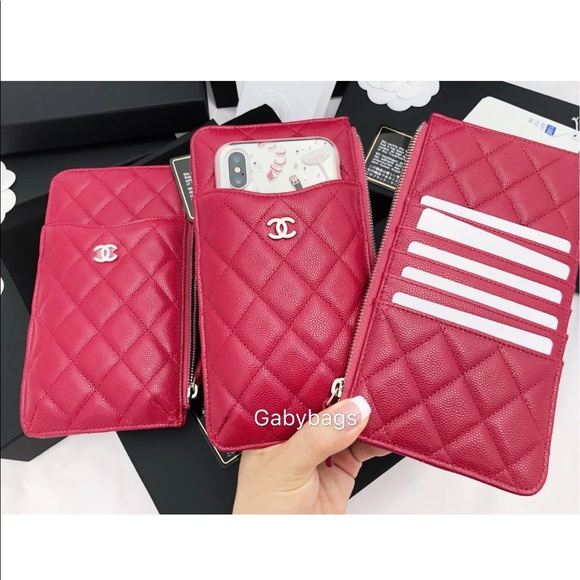 premium selection beaa9 a6c29 Chanel caviar phone pouch large o case wallet